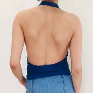 Low back blue halter top